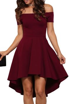 $18.63 Buy Cheap Burgundy Off Shoulder High Low Cocktail Party Dress at Online Shop http://en.modebuy.com @modebuyshop #modebuyshop @modebuy #modebuy #Red #amazing #style #so #dress #cute #me