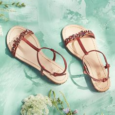 Step into summer in a pair of strappy leather sandals.