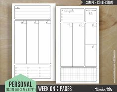 "WEEK on 2 pages | PERSONAL filofax / Kikki K ""MEDIUM"" time planners / personal travelers notebook 