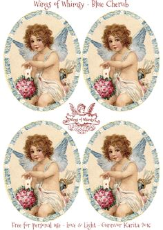 Wings of Whimsy: Blue Cherub Valentine Tags