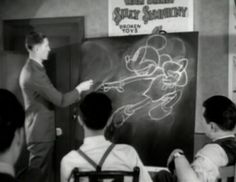 The motion of Mickey being analyzed at an evening art class at the Hyperion Studio.