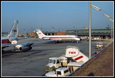 N1068T and N825TW Trans World Airlines - TWA at Port Columbus in 1968 A nostalgic view from the old obsevation deck early on a July morning in 1968 shows McDonnell Douglas DC-9-15 and Convair 880 at the gate.