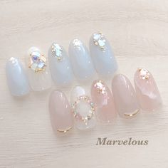 Cute Nail Art, Cute Nails, Pretty Nails, Korean Nail Art, Korean Nails, Japanese Nail Design, Japanese Nail Art, Soft Nails, Simple Nails