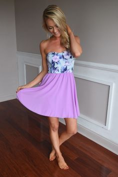Strapless Lilac Floral Short Dress – The Pulse Boutique