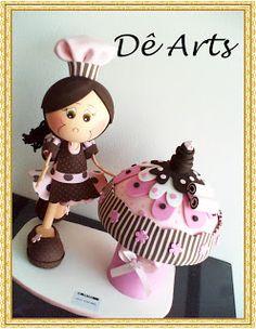 Dê Arts em Eva: Fofuchas Cup Cake Fun Cupcakes, Cupcake Cakes, Handmade Crafts, Diy And Crafts, Foam Crafts, Chef Recipes, Diy Food, Cupcake Recipes, Paper Piecing
