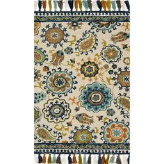 Check out Hooked Transitional Floral Fringe Rug from Shades of Light