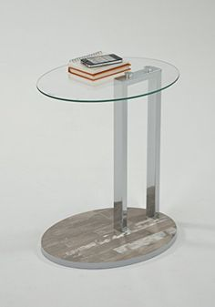 Tempered Oval Glass Top/Reclaimed Weathered Oak Base Chrome Modern Side End Table Living Room Table Sets, Living Room Furniture, Weathered Oak, End Tables, Table Settings, Chrome, Base, Modern, Top