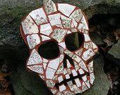 Mokawk skull antique china broken china mosaic wall art decor day of dead sugar skull