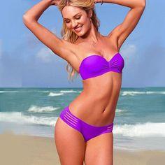 Women swimwear bandeau bikinis set padded tops swimsuit gather chest bikini push up bathing suit thong bottoms brazilian biquini