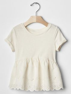 Embroidered lace peplum top Product Image