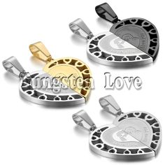 2pcs/pair Fashion Couple Stainless Steel LOVE YOU Matching Heart Pendant Lover Necklaces for Valentine Gift 3 colors selectable #Affiliate