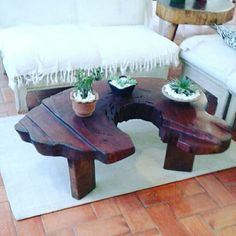 mesa de centro Exclusiva de tora de madeira