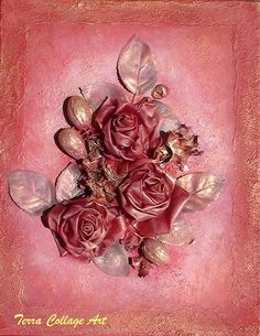 Red and Gold Roses Original Mixed Media Art by TerraCollageArt