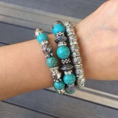 THREE LARGE SILVER & TURQUOISE BRACELET On Trend Large Silver & Turquoise stretch Bracelets. This listing is for all three (3) Bundle and wear several for a fabulous stacked look or wear alone to shine! 18K plated base metals, lead free, nickel free. Our closet offers a 10% discount on two and 15% off three items when bundled using the bundle feature. Thank you for stopping by @treasuresbytrac  T&J Designs Jewelry Bracelets