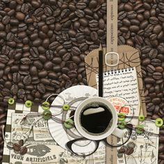 Digital Scrapbook Page Layout by Cynthia using the Morning Coffee Kit from Etc by Danyale at The Lilypad #etcbydanyale #thelilypad #digitalscrapbooking #memorykeeping #coffee