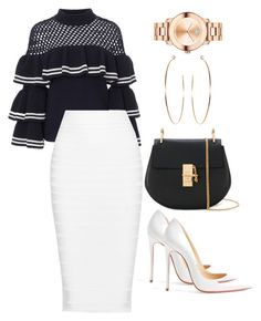 """""""Untitled #223"""" by tjwstyleconsultant on Polyvore featuring self-portrait, Cushnie Et Ochs, Chloé, Christian Louboutin and Movado"""