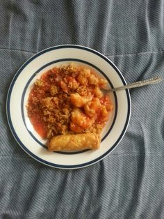 Sweet & Sour Chicken with An Egg Roll.