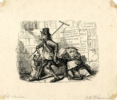 1816-1836. A blind monkey dressed in human clothes begging in the street, sitting with its back against a wall full with posters, including an advert for Landseer's 'Monkeyana / or / men in miniature', begging, holding a hat and note lettered with 'Pray remem[...] /