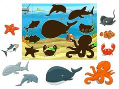 Buy Match the Animals and Fish to their Shadows by AlexanderPokusay on GraphicRiver. Match the underwater animals and fish to their shadows child game vector illustration Animal Activities, Preschool Learning Activities, Preschool Worksheets, Toddler Activities, Preschool Activities, Activities For Kids, Farm Animals Preschool, Underwater Animals, Animal Worksheets