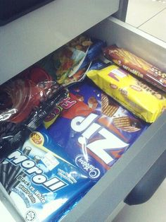 My food supply in office. I do get hungry from the heavy duty tho.