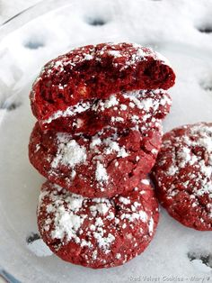 RED VELVET COOKIES - made from a cake mix and cream cheese! I made these during our snow day in Kansas but the colour is perfect for the holidays