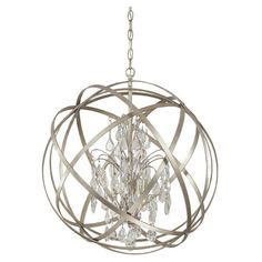 Showcasing candelabra-style lights encircled by an industrial-inspired orb, this bold pendant lends eye-catching style to your dining room or foyer.
