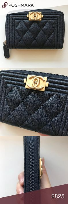 66bf1c02214876 Chanel Navy Caviar Boy Zip Coin Purse Card Holder Brand new never used zippy  coin purse. Full set with card, dust bag and box CHANEL Accessories Key &  Card ...