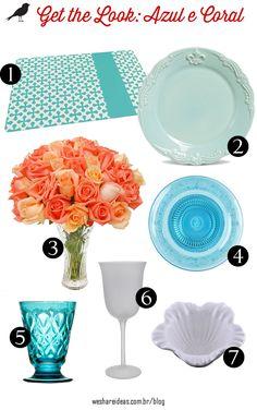 produtos mesa posta inspirada em mesa coral e azul claro.