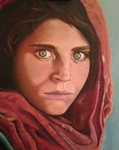 Retrato de Sharbat Gula, de la fotografía original de Steve McCurry #oil #paint #óleo #pintura