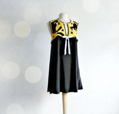 Cat Apparel for Women | Black Cat Women's Jumper Upcycled Clothes Yellow Dress Reconstructed ...