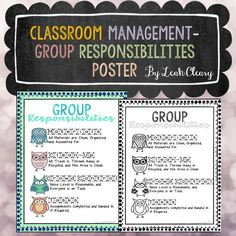 I hang this poster up in my classroom to remind students of their responsibilities in small groups. Before I started using this, dry erase boards would not be erased, markers would not be capped, and paper would be left all over the floor. With this poster, I assign each student a job in small group. They keep the job for a week, and then they rotate.