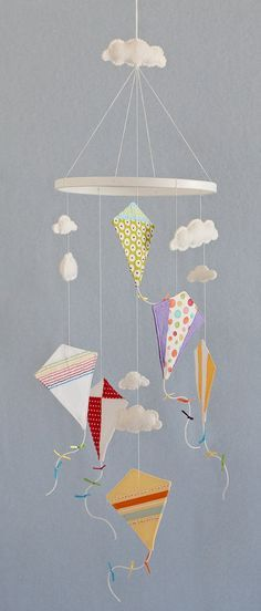 Kite and clouds nursery mobile
