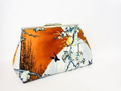 Metal Frame Clutch Snap Clutch Purse Bag Red by handjstarcreations, $23.50