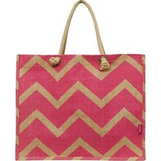 Pink Chevron Print Juco Beach/Shopping Tote Bag