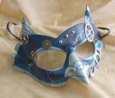SteamOwl Blue and Silver Colored Leather Steampunk Owl Cosplay Mask