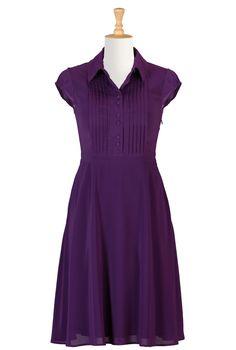 Stretch Crepe Retro Shirtdresses, Purple Heart Crepe Dresses Shop womens designer dresses - Bridesmaid Dresses, Bridesmaid Dress, Bridesmaid's dress, Dress for Bridesmaid, - CL0032960 | eShakti