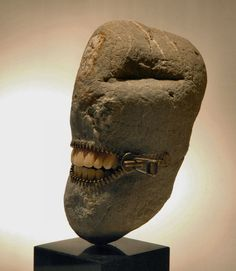 Hirotoshi Itoh uses rocks obtained in a river bank close to his house to make sculptures with an incredible sense of humor and structure.