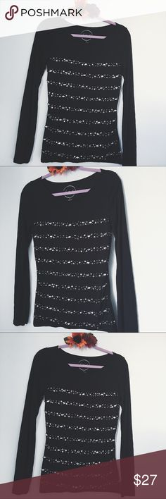 INTERNATIONAL CONCEPTS BEADED STRIPED BLACK BLOUSE BUST: 16 inches. LENGTH: 26 inches. INC International Concepts Tops