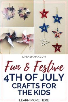 Independence day is such a fun celebration. This year, while you are getting ready for the food and fun give the kids some crafty things to do! Life as Mama has some fun and festive craft for the kids to help celebrate the 4th of July! Tap the photo again to learn more! #independenceday #fourthofjuly #4thofjuly #kidcrafts #holidaycrafts #crafts Fun Crafts For Kids, Projects For Kids, Festive Crafts, 4th Of July Celebration, July Crafts, Have Some Fun, Handmade Shop, Holidays And Events, Fourth Of July