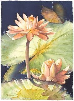 Mystic Pond #3 by Barbara Groenteman Watercolor ~ x