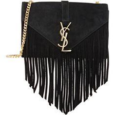 Saint Laurent Women's Fringed Monogram Shoulder Bag