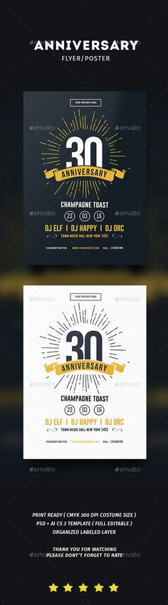 Vintage Anniversary Flyer Template PSD, Vector AI. Download here: http://graphicriver.net/item/vintage-anniversary-flyer/14738738?ref=ksioks