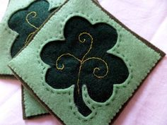 Set of Four Green Felt Coaster with Embroidered by Whiscraft, $16.00
