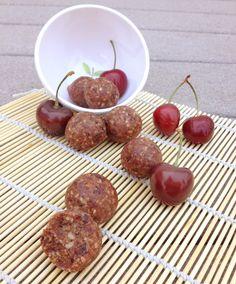 Paleo Cherry Pie Bites....  mmmmmm I can't wait Dates, Almonds, Dried Cherries, Water