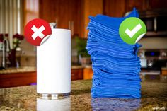 Replace paper towels with cloth towels to reduce waste