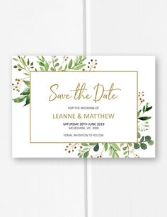 Wedding save the date cards printable, garden wedding ideas, gold save the date invitations, greenery invites from Pink Summer Designs on Etsy #weddinginvitation