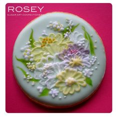Brush Embroidery Flower Cookie | by rosey sugar