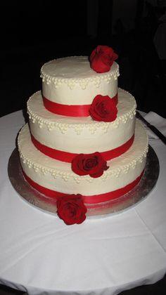 Simply red wedding cake