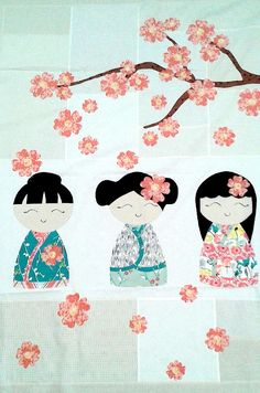 Use fusible appliqué to make this adorable quilt with three beautiful kimono girls and a cherry blossom branch. Each quilt kit includes: (6) Fat Eights for kimo