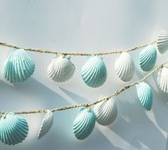 Seashell Garland Beach Wedding Decoration, Blue and White Sea Shell Garland, Shabby Chic Coastal Cottage Home Decor